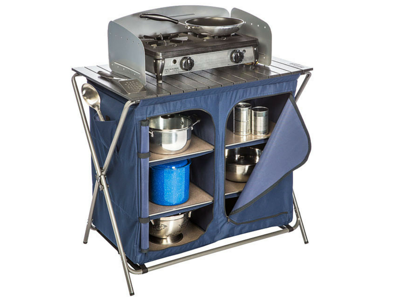 Camping Camp Kitchen With Storage Larder And Windshield